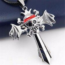 One Piece Skull Marks Silver Cross Wing Pendant Necklace Anime Cosplay