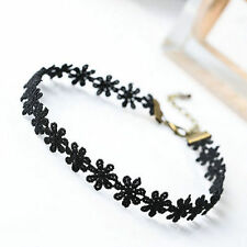 Elegant Sexy Fashion Vintage Daisy Flower Choker Black Lace Chain Women Necklace