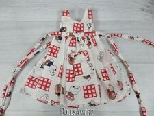 "RED W/PUPPIES DOLL APRON FITS 16"" HELEN KISH DOLLS #K8 & SIMILAR"