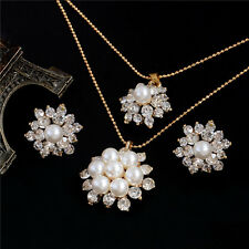 18K Gold Filled Austrian Crystal Flower Necklace Stud Earrings Jewelry Set