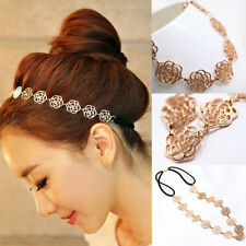 Fashion Women Hollow Rose Flower Metal Chain Jewelry Elastic Headband Hair Band