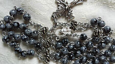 Rosary Handmade Chain Picasso Marble Pewter Miraculous Medal Immaculate Concepti