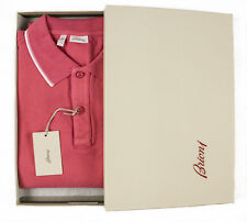New BRIONI Pink Vintage Wash Cotton Slim-Fit Stretch Polo Shirt 2XL XL NWT