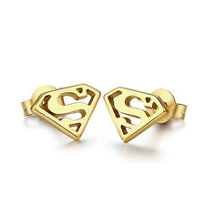 Stainless Steel Superman Ear Studs Earring Gold Super Hero Comic Jewelry Gifts