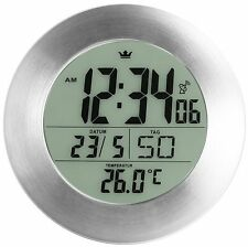 Semper Bathroom Radio Clock Wall Clock Silver Grey 17 cm Diameter