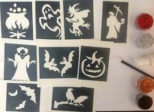 HALLOWEEN party accessories , glitter tattoo kit,ghost,witch,pumpkin,grim reaper