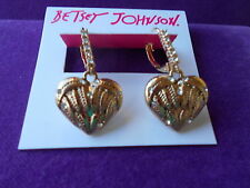 Betsey Johnson Authentic NWT Gold-Tone Crystal Enhanced Heart Drop Earrings