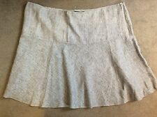 M&S NAVY/WHITE LINEN SKIRT IN DIAGONAL STRIPES WITH A-LINE SHAPE -SIZE 24 BNWT