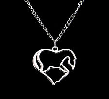 1pc Silver Love Heart Horse Silhouette Charms Necklace Fashion Jewlery Gift