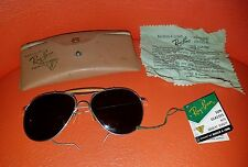 VINTAGE WWII NAVY MILITARY Shooter AVIATOR SUNGLASSES W/RAY BAN B&L Case Tags