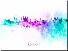 "London City Skyline UK watercolor Abstract Canvas Art Print 8""X10"""