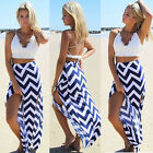 Womens Sexy BOHO Double Split Long Maxi Chiffon Skirt Summer Beach Casual Dress