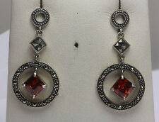 BJC® Beautiful 925 Sterling Silver Garnet Square Marcasite Earrings Hook Hanging