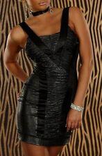 SeXy RaSSig! ultra kurzes stretch Mini-Kleid gerafft 34/36/38 Freesize schwarz