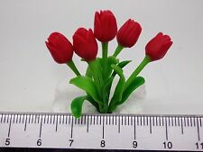 1:12 Scale Red Tulips Flowers  Doll House Miniatures Flowers, Garden