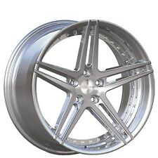 "(4rims) 20"" Staggered Rennen Wheels CSL 3 Silver W/ Chrome Bolts Rims"