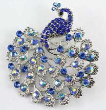 Blue Fine Austrian Rhinestone Crystal Sparkling Peacock Wedding Brooch Pin