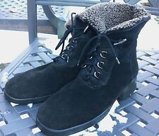 AQUATALIA By Marvin K Sz 9-10 Black Suede Leather Faux Fur Short Combat Boots
