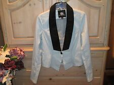 ROCK& REPUBLIC FULL METAL BLK TIE DOVE GRAY BLAZER/JACKET WOMENS SIZE 8 NEW $90