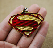 New SUPERMAN Chest LOGO Key Chain Red Gold Zinc Alloy Metal Ring