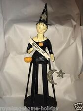 20566 HTF Hallows Eve Cage Witch with Pumpkin Star Moon Nicol Sayre ESC Folk Art