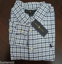 NWT Ralph Lauren Boys Long Sleeved Blue Tattersall Blake Shirt 14/16 Large NEW