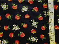 VIP CRANSTON  APPLE FLORAL PRINT ON NAVY BLUE 100% COTTON FABRIC 24X43 INCHES