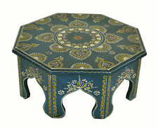 """Antique Wood Carved Furniture Chowki Table Moroccan Pooja Round Footstool 15X15"""""""