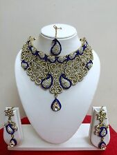 Indian Fashion Bollywood Style Gold Plated Bridal Blue Jewelry Necklace Set