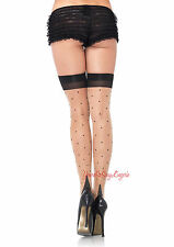 CUBAN HEEL STOCKINGS Nude Black POLKA DOT Thigh High SHEER 15% SPANDEX OS