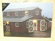 Horse Barn Red Farm Benjamin Grey Lighted Canvas Wall Decor Sign