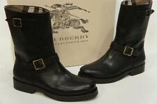 BURBERRY 'WINGFIELD' BIKER BLACK LEATHER BOOTS SHOES 37.5/7 NIB $795
