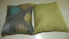 Pair of Gray Green Blue Abstract Decorative Print Throw Pillows  12 x 12