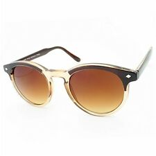 Brown Honey Two Tone Round Designer Inspired Retro Celebrity 80s Depp Sunglasses