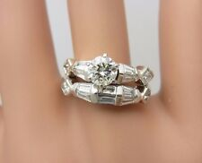 18K White Gold and 0.50 CT Diamond Engagement Ring Wedding Band Set 1.50 CT TW