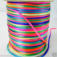 per 5 metres satin rattail space dye 2mm rainbow/ multicoloured