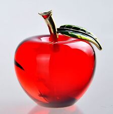 3D Crystal Paperweight Red Glaze Apple Figurine Glass Wedding Decoration Gifts