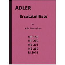 Adler MB 150 200 201 250 M 2011 Ersatzteilliste Ersatzteilkatalog Parts List