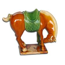 VINTAGE CHINESE CERAMIC TANG WAR HORSE FIGURINE ORNAMENT GLAZED FINISH BROWN