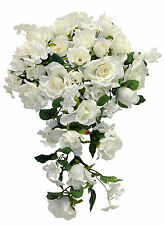 Cream Ivory ROSES Cascade Bridal Bouquet Silk Wedding Flowers Arch Gazebo Decor