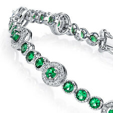 925 Sterling Silver CZ Green Emerald Tennis Bracelet with Cubic Zirconias
