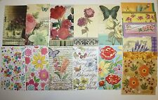 32 paper (2 of each) napkins for decoupage & craft flowers butterfly
