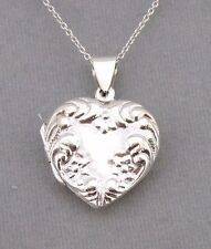 925 Sterling Silver Heart Locket Raised Flower Edge Jewelry NEW