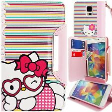 New Hello Kitty PU Leather Stripes Wallet Case for Samsung Galaxy S5 Stand Cover