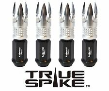 16PC VMS RACING 89MM 12X1.5 FORGE STEEL LUG NUTS W/ SILVER POSEIDON SPIKE TIPS D