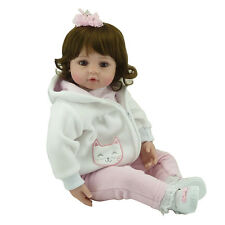"22"" Handmade Vinyl Reborn Baby Toddler Dolls Lifelike Girl Doll Cat Clothes"