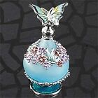 Teal Butterfly Top w/Floral Ring Perfume Bottle Fragrance Container Decoration