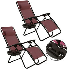 2PC Zero Gravity Chairs Lounge Patio Folding Recliner W/Cup Holder Wine