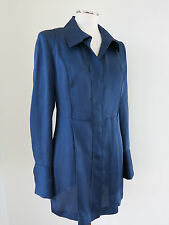 DONNA KARAN BLOUSE TUNIC BLUE SILK 4 BLACK LABEL
