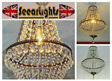 CHANDELIER LIGHT PENDANT CRYSTALS GLASS DROPS DOUBLE TIER BAGUETTE BAG 28CMdi BN